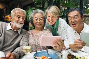 retirement couples having dinner